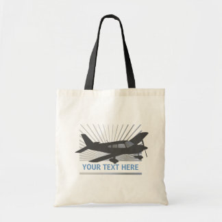 Customize Text - Low Wing Airplane Tote Bag