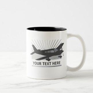 Customize Text - Low Wing Airplane Two-Tone Coffee Mug