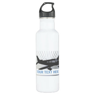 Customize Text - Low Wing Airplane Water Bottle