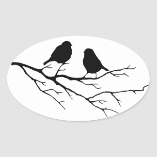 Customize the Color Two Birds in Tree Nature Oval Sticker