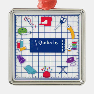 Customize the Label Quilt Time Metal Ornament