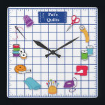 "Customize the Label Quilt Time Square Wall Clock<br><div class=""desc"">Here's my special clock designed for fellow quilters with my favorite tools and supplies for quilting, patchwork, needlework and embroidery: sewing needles, spools of thread, pin cushion with stick pins, bobbins, thimble, tape measure, scissors, bolt of cloth, rotary cutter, sewing machine and label on a self healing cutting mat. A...</div>"