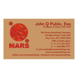 Customize These Mars Red Planet Business Cards