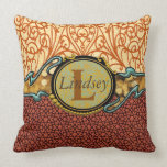 Customize these rust and buff throw pillow
