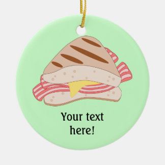 Customize this Bacon Sandwich graphic Double-Sided Ceramic Round Christmas Ornament