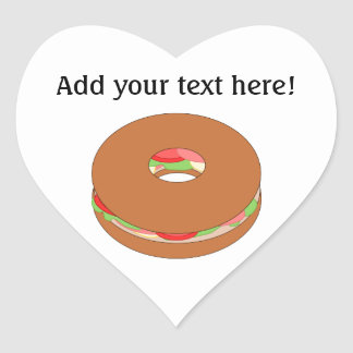 Customize this Bagel graphic Heart Sticker
