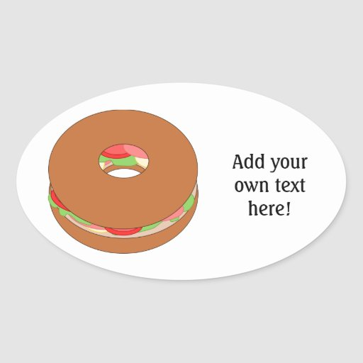 Customize this Bagel graphic Oval Sticker