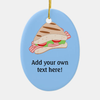 Customize this BLT Sandwich Graphic Double-Sided Oval Ceramic Christmas Ornament