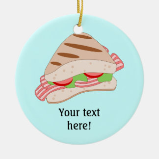 Customize this BLT Sandwich Graphic Double-Sided Ceramic Round Christmas Ornament