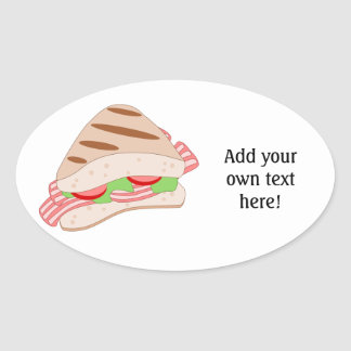 Customize this BLT Sandwich Graphic Oval Sticker