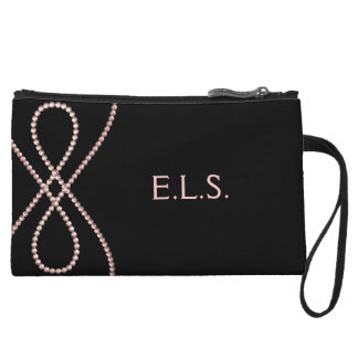 Customize this Chic Pink Pearls Design Wristlet Wallet