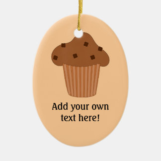 Customize this Choc Chip Muffin graphic Double-Sided Oval Ceramic Christmas Ornament