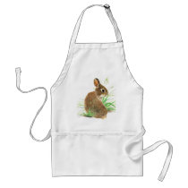Customize this Curious Rabbit, Watercolor Animal Adult Apron