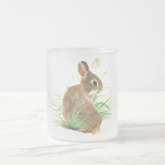 Customize this Curious Rabbit, Watercolor Animal Frosted Glass Coffee Mug