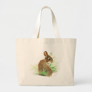 Customize this Curious Rabbit, Watercolor Animal Large Tote Bag