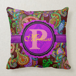 Customize this gorgeous paisley and purple throw pillow