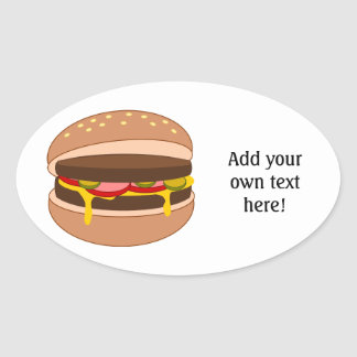 Customize this Hamburger graphic Oval Sticker