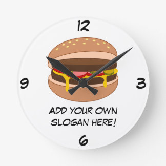 Customize this Hamburger graphic Round Clock