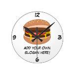 Customize this Hamburger graphic Round Wallclocks