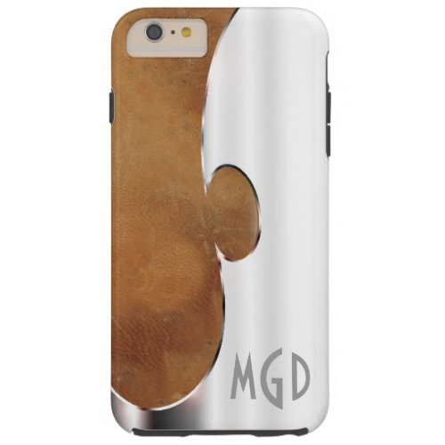 Customize this handsome silver and leather Phone Case