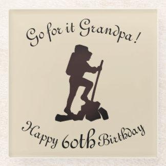 Customize this Hiking Happy 60th Birthday Grandpa Glass Coaster