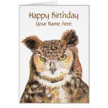 Customize this Insulting Cute Owl Birthday Card