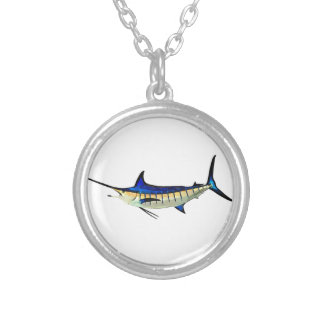 Customize this Marlin with your Boat Name Silver Plated Necklace