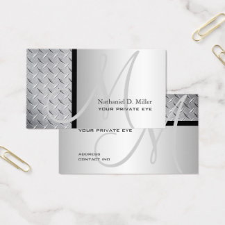 Customize this monogram diamond steel plate business card