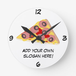 Customize this Pizza Slice graphic Round Clock