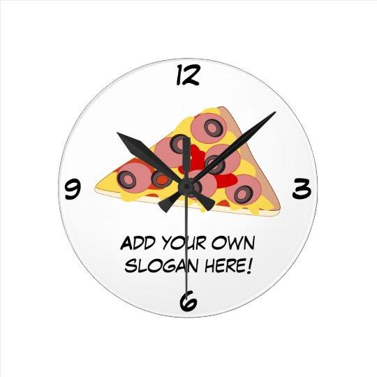 Customize this Pizza Slice graphic Round Clock
