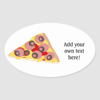 Customize this Pizza Slice graphic Oval Stickers