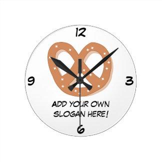 Customize this Pretzel Knot graphic Round Clocks
