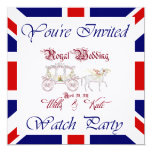 """Customize THIS Royal Wedding Watch Party Invite 5.25"""" Square Invitation Card"""