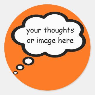 customize thought cartoon balloon classic round sticker