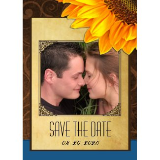 Customize to Your Photo Sunflower Save the Dates invitation