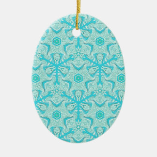 Customize Turquise Cool Seamless Pattern Backgroun Ceramic Ornament