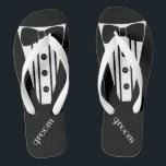 "Customize Tuxedo Color Flip Flops<br><div class=""desc"">The perfect touch to your destination beach or poolside wedding. CUSTOMIZE THE COLOR- flip flops with a white formal tuxedo, white shirt and bow tie image. Your groom will marry in style with these fashionable ""Formal Tuxedo Flip-Flops"" Add a matching wedding gown style for the bride! Please visit my store...</div>"