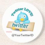 Customize Twitter ID LOVE Coasters