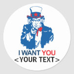 CUSTOMIZE UNCLE SAM WANT YOU, <YOUR TEXT> ROUND STICKERS