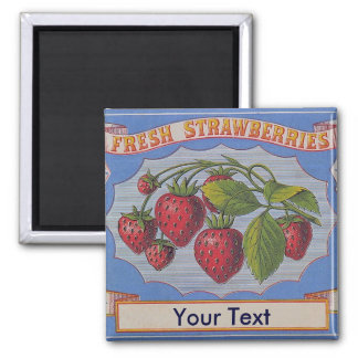 Customize Vintage Fresh Strawberries Magnet
