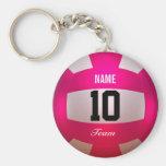 Customize Volleyball Bright Pink Basic Round Button Keychain