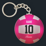 "Customize Volleyball Bright Pink Keychain<br><div class=""desc"">Volleyball design. Bright Pink. Custom name,  number and team. 3d rendered in Blender 3D Cycles.  Art by Jos&#233; Ricardo.</div>"