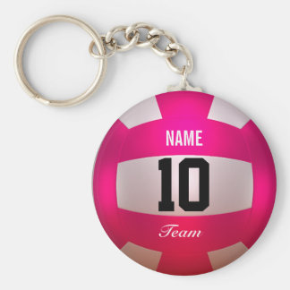 Customize Volleyball Bright Pink Keychain