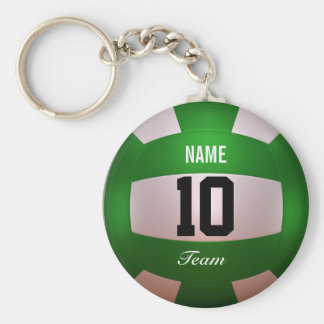 Customize Volleyball Forest Green Keychain