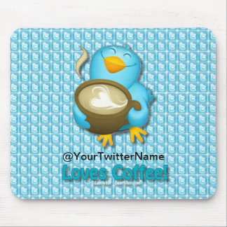 Customize W/ Your Twitter Name Coffee Bird Mouse Pad