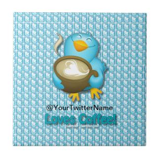 Customize W/ Your Twitter Name Coffee Bird Ceramic Tile