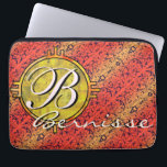 "Customize warm fiore orange gold laptop sleeve<br><div class=""desc"">Personalize this Italian 19th century filigree wallpaper in red and yellow design with a round disc where you can put any text you like - your initial and/or your whole name. You can change the fonts, the sizes, and the colors, or re-position the text blocks. It&#39;s a great template to...</div>"