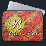 """Customize warm fiore orange gold laptop sleeve<br><div class=""""desc"""">Personalize this Italian 19th century filigree wallpaper in red and yellow design with a round disc where you can put any text you like - your initial and/or your whole name. You can change the fonts, the sizes, and the colors, or re-position the text blocks. It&#39;s a great template to...</div>"""