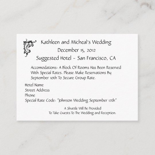 Customize Wedding Hotel Accommodation Insert Card Zazzle Com