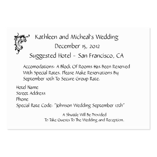 Customize Wedding Hotel Accommodation Insert Card Large Business Cards (pack Of 100)